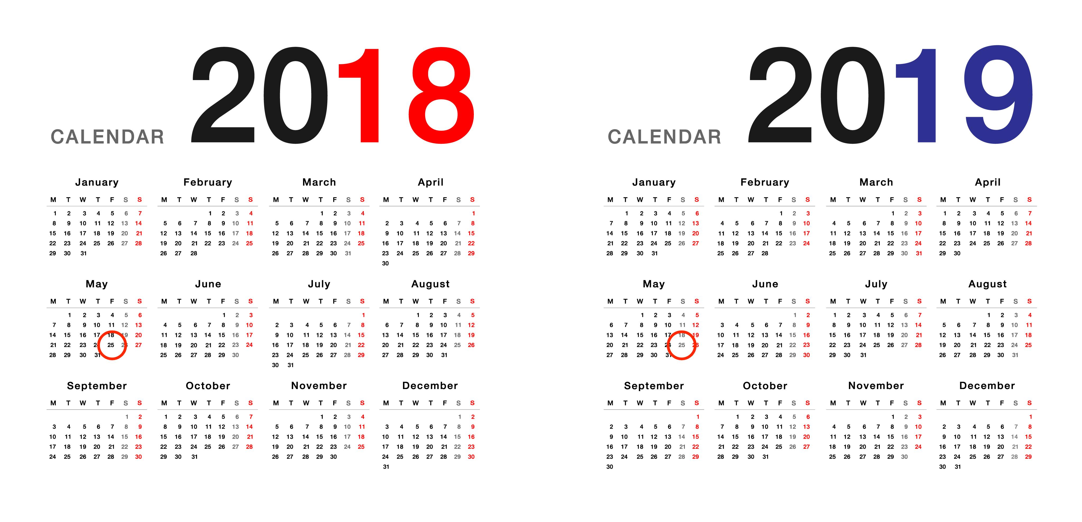 Calendar 28 May 2018 to 28 May 2019